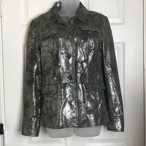 Tory Burch Grey Metallic leather belted jacket
